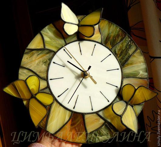 """Часы для дома ручной работы. Ярмарка Мастеров - ручная работа. Купить Витражные часы """"Желтые сны"""". Handmade. Желтый"""