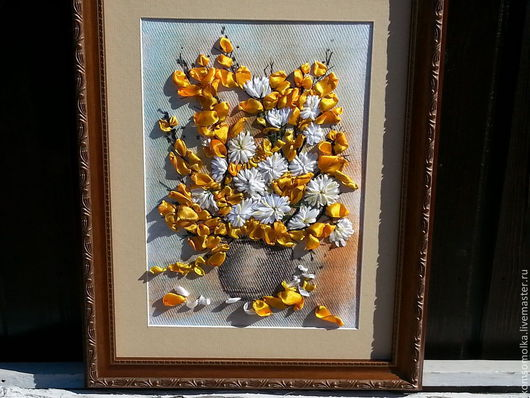 """Картины цветов ручной работы. Ярмарка Мастеров - ручная работа. Купить картина,вышитая лентами""""Осень золотая"""". Handmade. Желтый, картина"""
