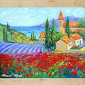 """Картины и панно ручной работы. Ярмарка Мастеров - ручная работа """"Маки и Лаванда"""" картина пейзаж Прованса. Handmade."""
