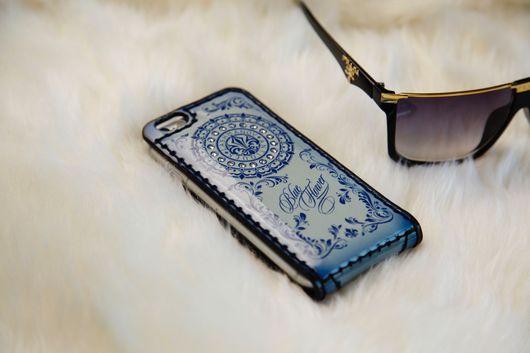 Для телефонов ручной работы. Ярмарка Мастеров - ручная работа. Купить Чехол-флип для  iPhone 7/7plus/6/6s/6plus/5/5s/se Blue Flower. Handmade.