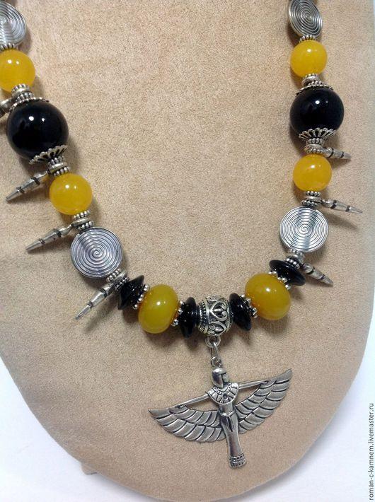 Колье ,бусы этнические из натуральных камней в восточном египетском стиле. Колье магический защитный талисман для женщин и девушек. Handmade necklace/