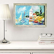 Картины и панно handmade. Livemaster - original item Oil painting southern landscape with lighthouse in frame. Handmade.