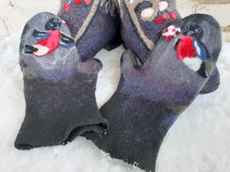 Варежки Снегири на рябине, Варежки, Курган,  Фото №1