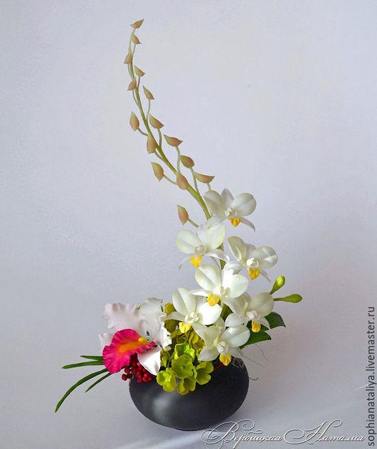Интерьерные композиции ручной работы. Ярмарка Мастеров - ручная работа. Купить Композиция с орхидеями.Полимерная глина. Handmade. Комбинированный