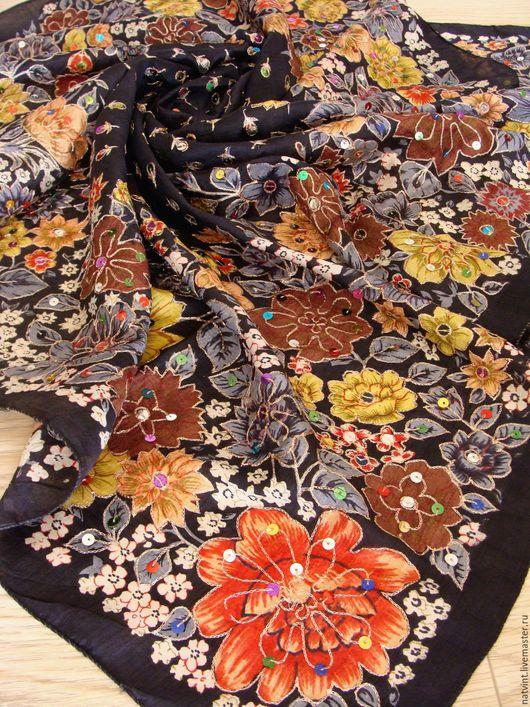 """Винтажная одежда и аксессуары. Ярмарка Мастеров - ручная работа. Купить Шелковый платок с индийской вышивкой золотом """"зардози"""". Handmade."""