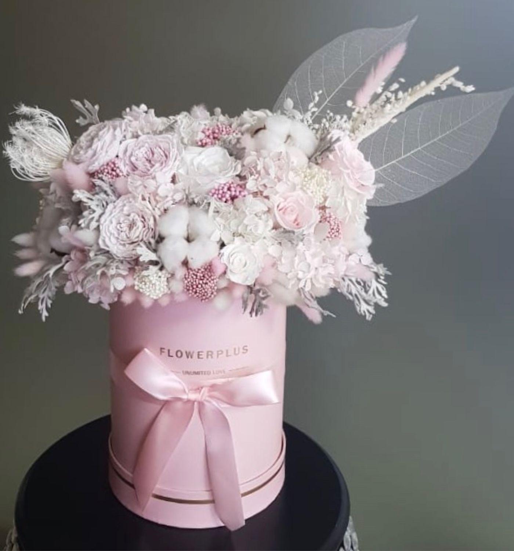 Букет в шляпной коробке из стабилизированных цветов и сухоцветов, Букеты, Москва,  Фото №1