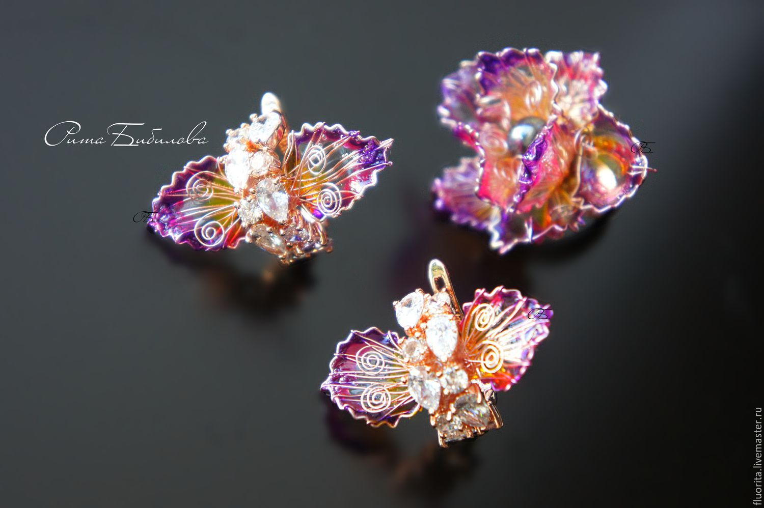 Collectible jewelry, VIDEOS, stained glass ring and earrings, Jewelry Sets, St. Petersburg,  Фото №1