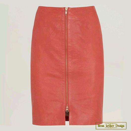 Юбки ручной работы. Ярмарка Мастеров - ручная работа. Купить Прямая юбка с молнией впереди из натуральной кожи. Handmade.