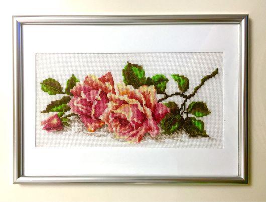 """Картины цветов ручной работы. Ярмарка Мастеров - ручная работа. Купить Вышивка крестом """"Аромат розы"""". Handmade. Картина в подарок"""