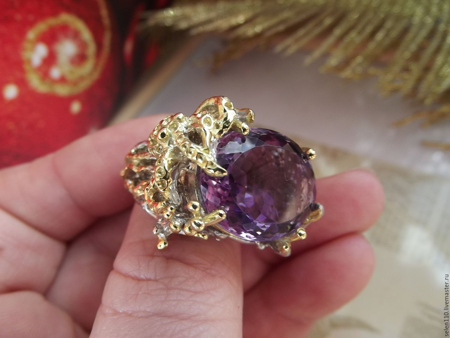 Large ring Underwater world with amethyst, Rings, Voronezh,  Фото №1