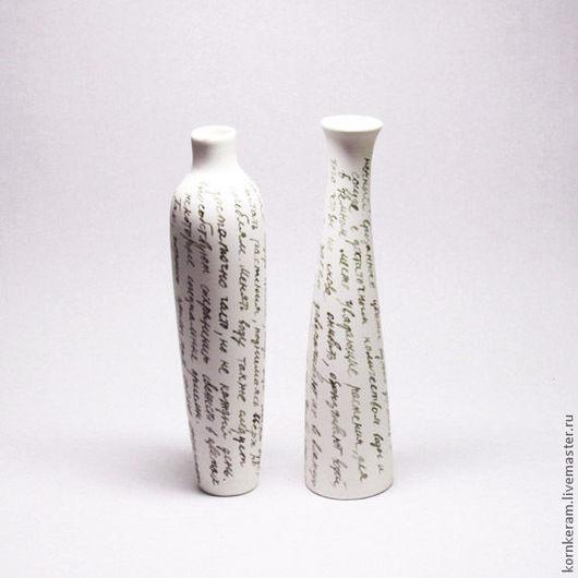 """Вазы ручной работы. Ярмарка Мастеров - ручная работа. Купить """"Каллиграфия"""", две вазы. Handmade. Чёрно-белый, флористика, букет"""