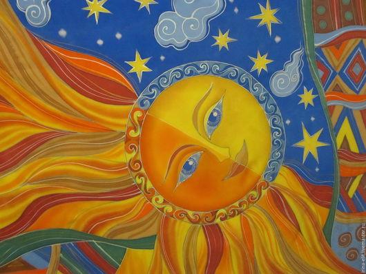 Шали, палантины ручной работы. Ярмарка Мастеров - ручная работа. Купить Солнце и Луна. Handmade. Комбинированный, платок, натуральный крепдешин