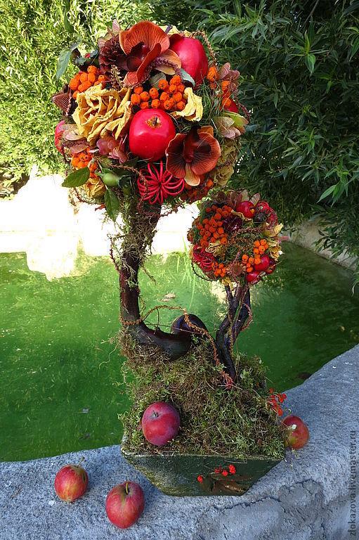 """Топиарии ручной работы. Ярмарка Мастеров - ручная работа. Купить топиарий """"Осеннее настроение"""". Handmade. Топиарий, композиции для интерьера, шишки"""