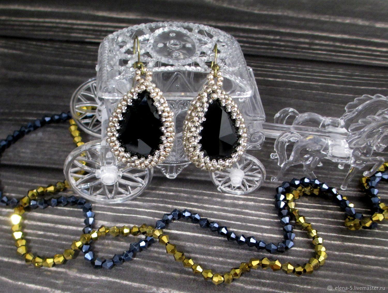 Серьги с черным кристаллом, Колье бусы, Уфа, Фото №1