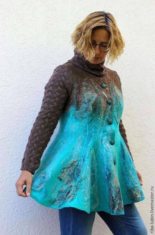 """Пиджаки, жакеты ручной работы. Ярмарка Мастеров - ручная работа. Купить Жакет валяный """"На далеких островах"""". Handmade."""