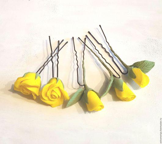 Свадебные украшения ручной работы. Ярмарка Мастеров - ручная работа. Купить Свадебные шпильки в прическу розочки из полимерной глины. Handmade.