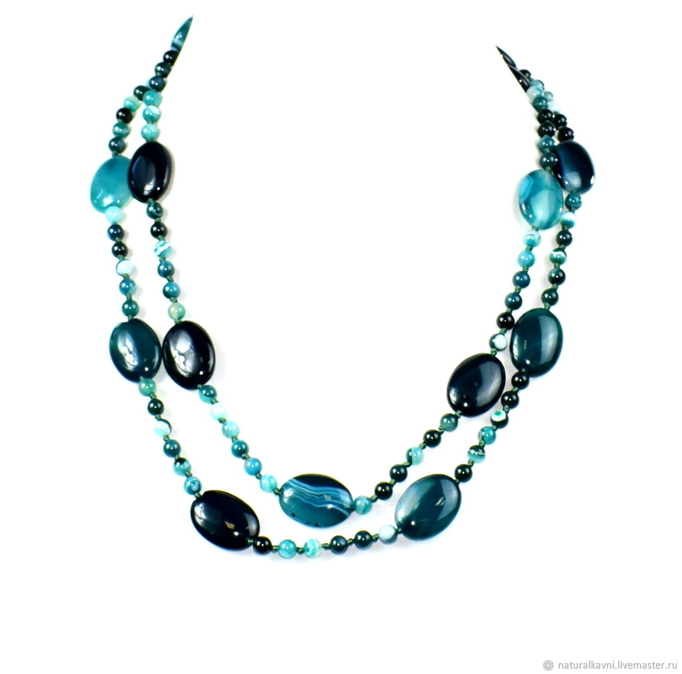 Green long bead necklace from natural agate, Necklace, Moscow,  Фото №1