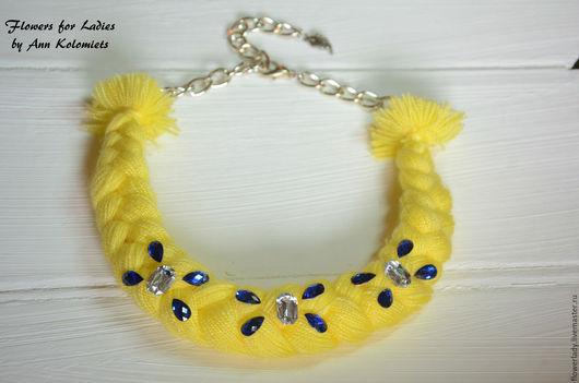 """Колье, бусы ручной работы. Ярмарка Мастеров - ручная работа. Купить Necklace-braid """"Diamonds""""/Колье-коса """"Алмазы"""". Handmade. Лимонный"""