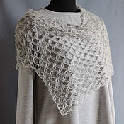 Одежда handmade. Livemaster - original item Cape poncho openwork crocheted mohair yarn with acrylic color steel. Handmade.