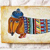 """Картины и панно ручной работы. Ярмарка Мастеров - ручная работа Картина для детской """"Такса"""". Handmade."""