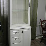 Шкафы ручной работы. Ярмарка Мастеров - ручная работа Шкаф-витрина с тумбой из массива берёзы. Handmade.