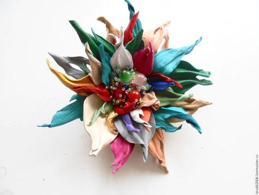 Кожаные украшения.Цветы из кожи.Кожаный цветок `Эльза`, брошь, ободок, браслет, заколка, украшение цветок,женское украшение,кожаные цветы ручной работы,украшение в прическу, брошь ручной работы