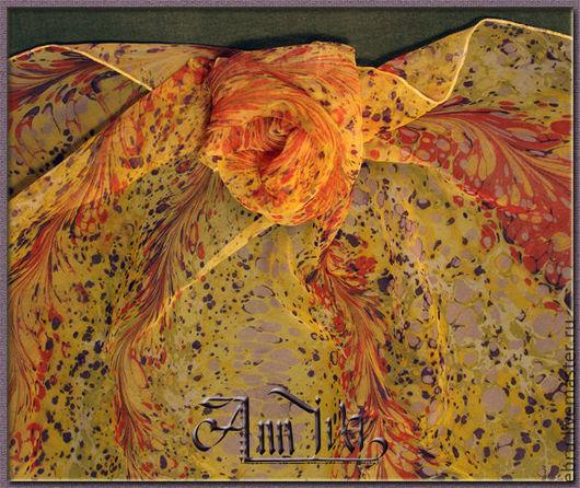 """Шали, палантины ручной работы. Ярмарка Мастеров - ручная работа. Купить Платок """"Брызги солнца"""". Handmade. Батик, шелковый платок"""
