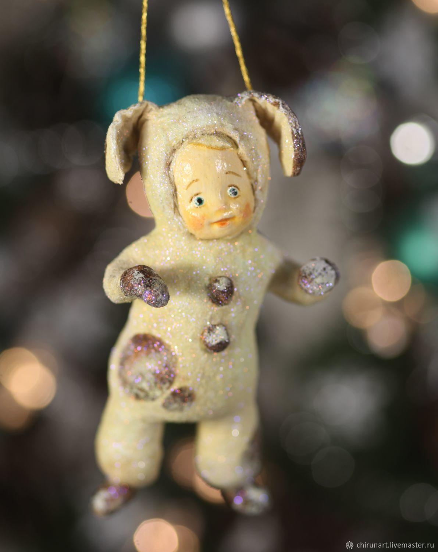"""Новый год 2019 ручной работы. Ярмарка Мастеров - ручная работа. Купить Елочная игрушка """"Собачка"""" 12см. Handmade. Бежевый"""