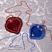 Украшения handmade. Livemaster - original item Brooch Velvet heart 2 options Burgundy blue. Handmade.