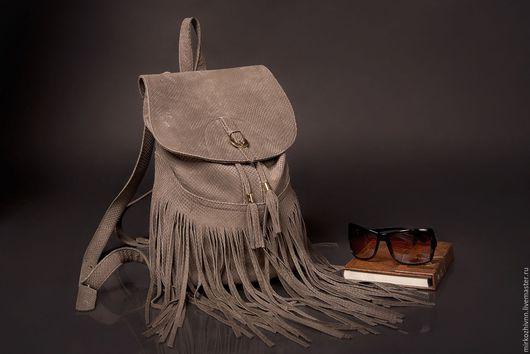 Рюкзаки ручной работы. Ярмарка Мастеров - ручная работа. Купить Рюкзак с бахромой, женский рюкзак, замшевая сумка. Handmade.