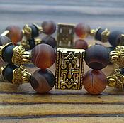 Украшения ручной работы. Ярмарка Мастеров - ручная работа Двухрядный браслет из агата и шунгита. Handmade.