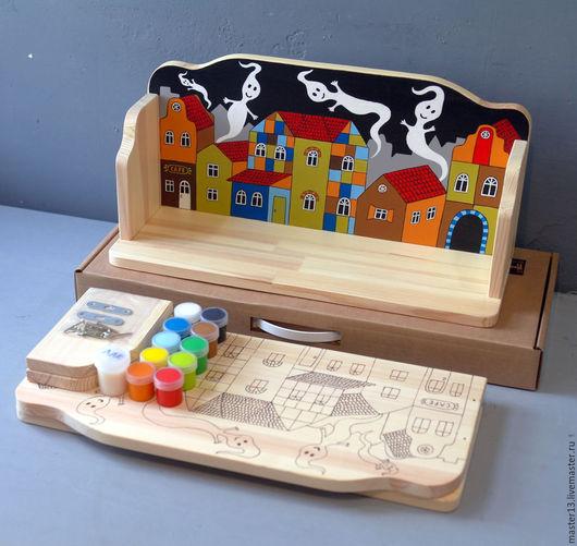 """Детская ручной работы. Ярмарка Мастеров - ручная работа. Купить Полка """"Домики-2"""" (набор с контурами и красками) для детской. Handmade."""