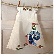Работы для детей, handmade. Livemaster - original item Painted white linen baby girl dress in vintage style for flower girl. Handmade.