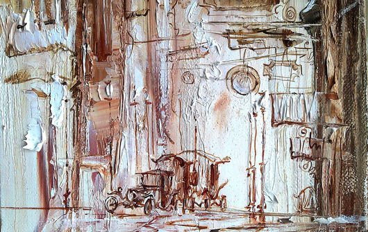 """Город ручной работы. Ярмарка Мастеров - ручная работа. Купить """"Ночь"""". Handmade. Коричневый, ночной город, картина в кабинет"""