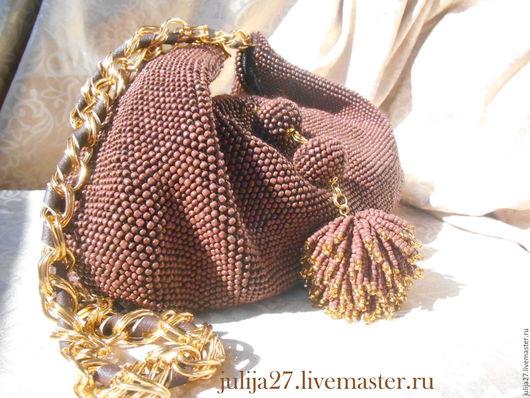 Сумка ` Золото в Шоколаде` вязаная с бисером