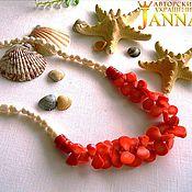 Украшения handmade. Livemaster - original item Necklace of coral and freshwater pearls. Handmade.