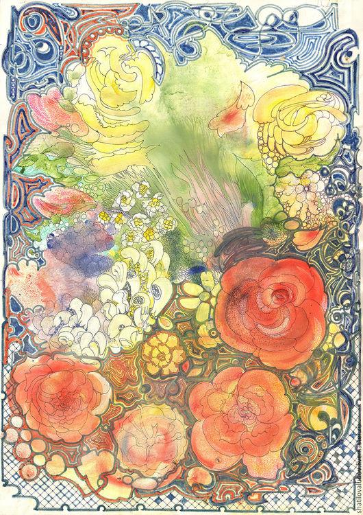 """Абстракция ручной работы. Ярмарка Мастеров - ручная работа. Купить """"Цветы"""". Handmade. Репродукция, на стену, картина для интерьера, графика"""