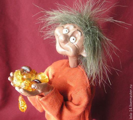 """Сказочные персонажи ручной работы. Ярмарка Мастеров - ручная работа. Купить Домовёнок  """"Янтарик"""". Handmade. Комбинированный, самоотвердевающий пластик"""