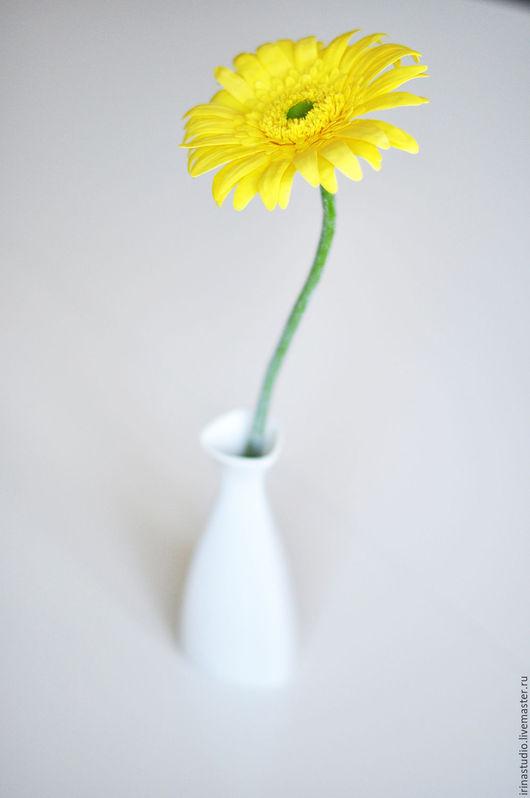 Цветы ручной работы. Ярмарка Мастеров - ручная работа. Купить Гербера из полимерной глины. Handmade. Желтый, цветы из глины, Декор