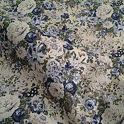 Материалы для творчества ручной работы. Ярмарка Мастеров - ручная работа Поплин-шебби цвета экрю с букетиками в оттенках синего.. Handmade.
