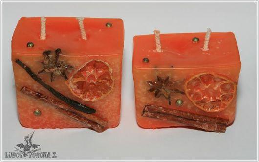 Свечи ручной работы. Ярмарка Мастеров - ручная работа. Купить Свеча «Глинтвейн». Handmade. Оранжевый, сувенир, подарок девушке, корица