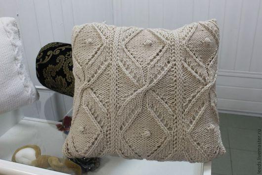 Текстиль, ковры ручной работы. Ярмарка Мастеров - ручная работа. Купить Подушка. Handmade. Бежевый, подушка на диван, подушка вязаная