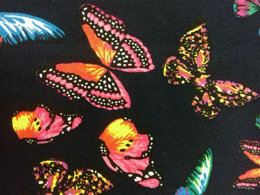 Шитье ручной работы. Ярмарка Мастеров - ручная работа. Купить Ткань хлопок  бабочки на т.синем. Handmade. Ткань