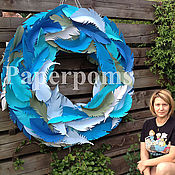 Дизайн и реклама ручной работы. Ярмарка Мастеров - ручная работа венок из перьев - бумажный двусторонний. Handmade.