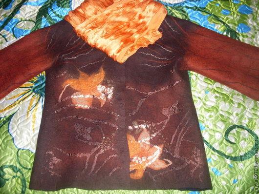"""Пиджаки, жакеты ручной работы. Ярмарка Мастеров - ручная работа. Купить Жакет валяный """"Лилии"""". Handmade. Коричневый, оранжевые цветы"""
