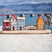 """Для дома и интерьера ручной работы. Ярмарка Мастеров - ручная работа Морская композиция """"Тихий городок"""" driftwood. Handmade."""