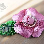 Украшения ручной работы. Ярмарка Мастеров - ручная работа Розовый  цветок (цветок из пайеток). Handmade.