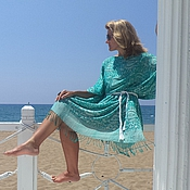 Одежда handmade. Livemaster - original item м_008 tunic dress green and white with fringe. Handmade.