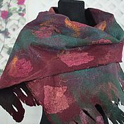 Аксессуары handmade. Livemaster - original item Women`s felted scarf wool felted scarf wine emerald. Handmade.