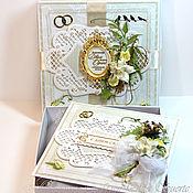 Свадебный салон ручной работы. Ярмарка Мастеров - ручная работа Свадебная открытка бежево-золотая  в коробке. Handmade.